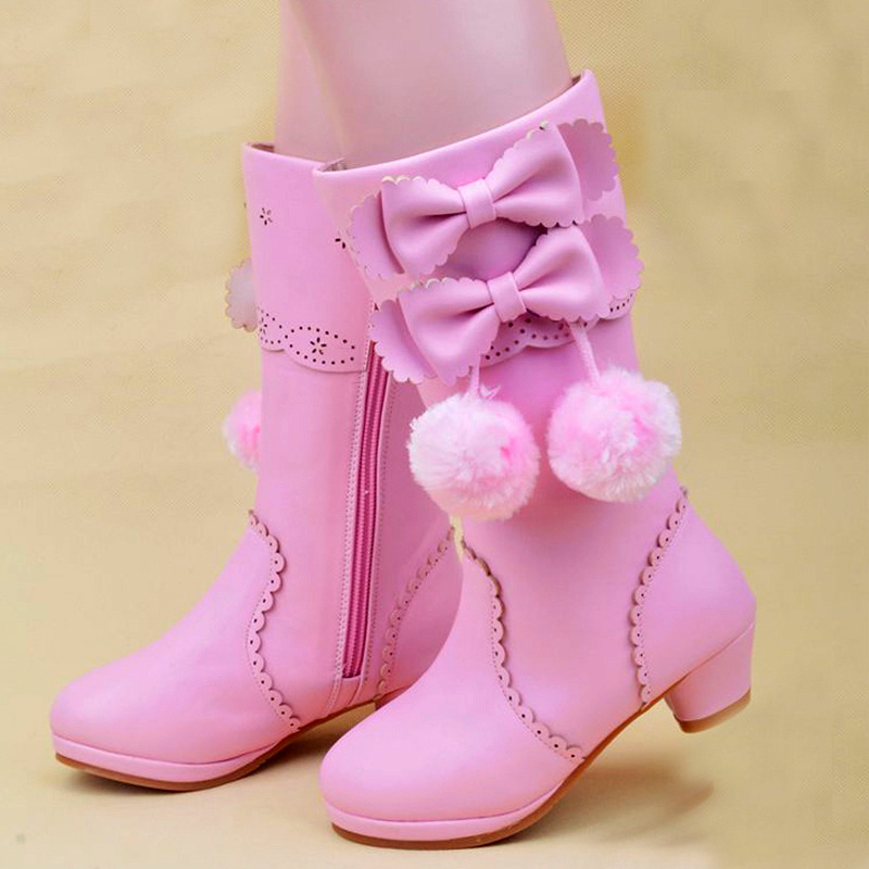 2017 Winter New Kids Girls High Heel Boots Leather Plush Warm Snow Boots Children Party Princess Shoes Cute Knee High Boots uovo baby girls snow boots 2017 new faux fur plush kids high boots glitters children shoes soft sole winter boots for toddlers