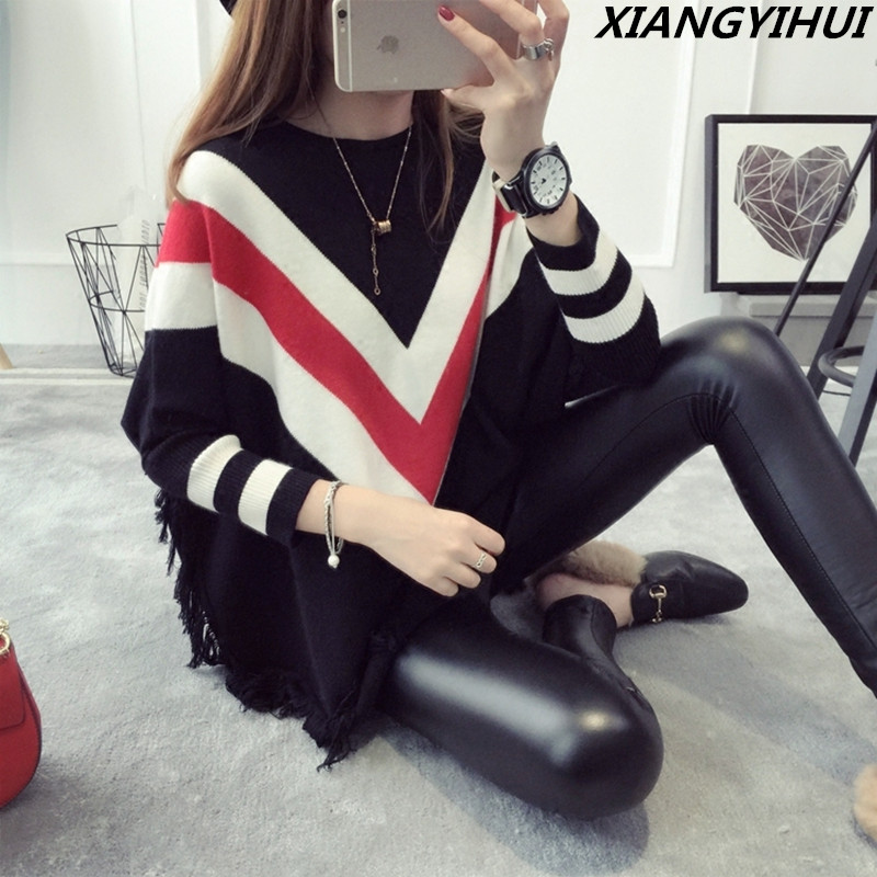 2017 Fashion Pull Pullover Cardigan Womens Ponchoes capes sweater Sleeve Casual cape Tassel female christmas Sweaters Pullovers