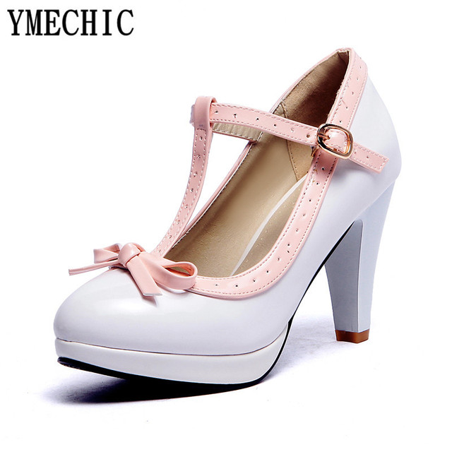 cd03ae0b4b1f YMECHIC Princess Lolita Mary Jane Shoes Woman High Heels Red White Bowtie  Ladies Summer Strap Spike Heel Pumps Party Summer 2018 - Trendy Shoes Outlet