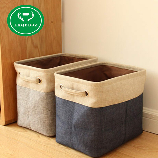 Linen Desk Storage Box Jute Holder Jewelry Cosmetic Stationery Organizer Case Luggage Home Clothes