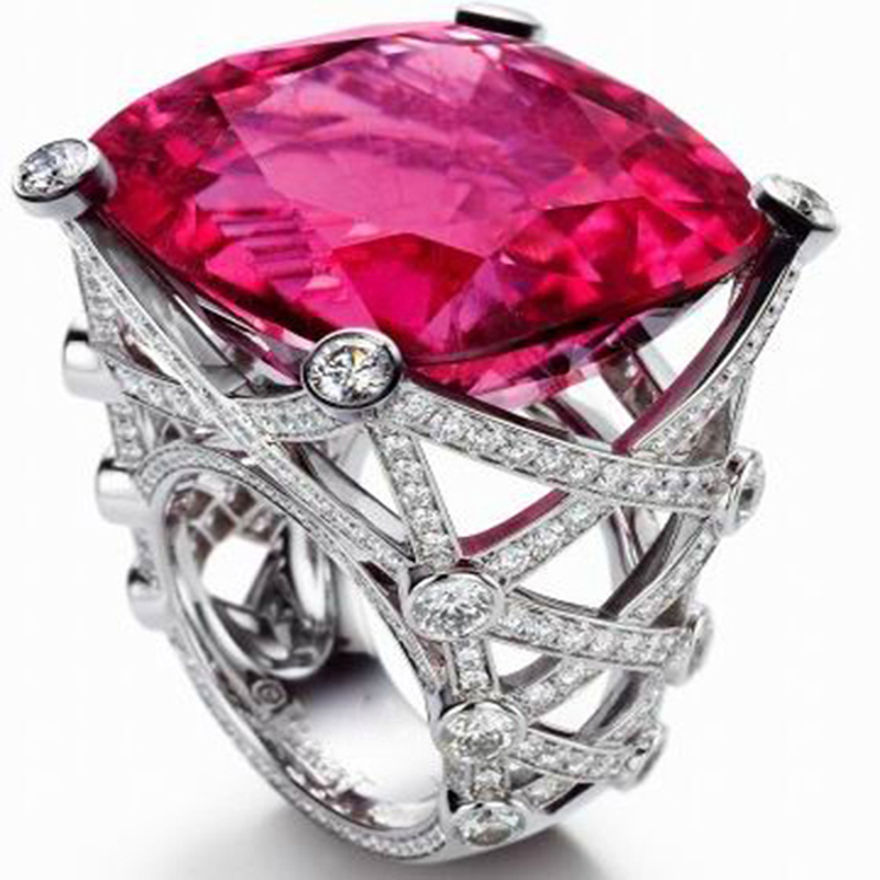 купить 2017 New Anillos Qi Xuan_Jewelry_Big Red Stone Luxury Cocktails Finger Rings_S925 Solid Silver Rings_Factory Directly Sales онлайн