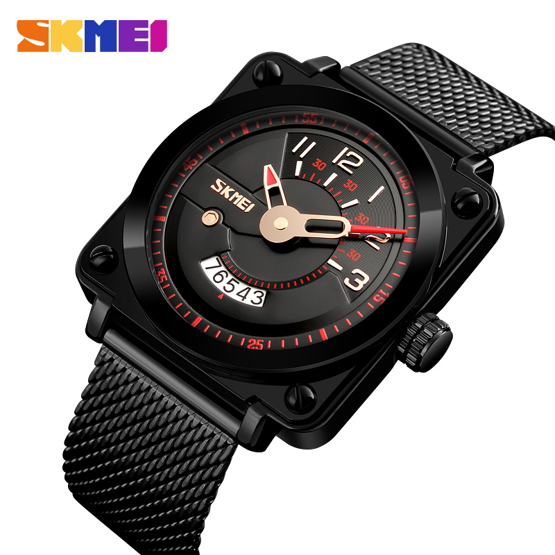 SKMEI Quartz Watches Men Auto Date Black Stainless Steel Creative Analog Wrist Watches Waterproof Watches Men Fashion Watch 2018 tevise fashion auto date automatic self wind watches stainless steel luxury gold black watch men mechanical t629a with tool
