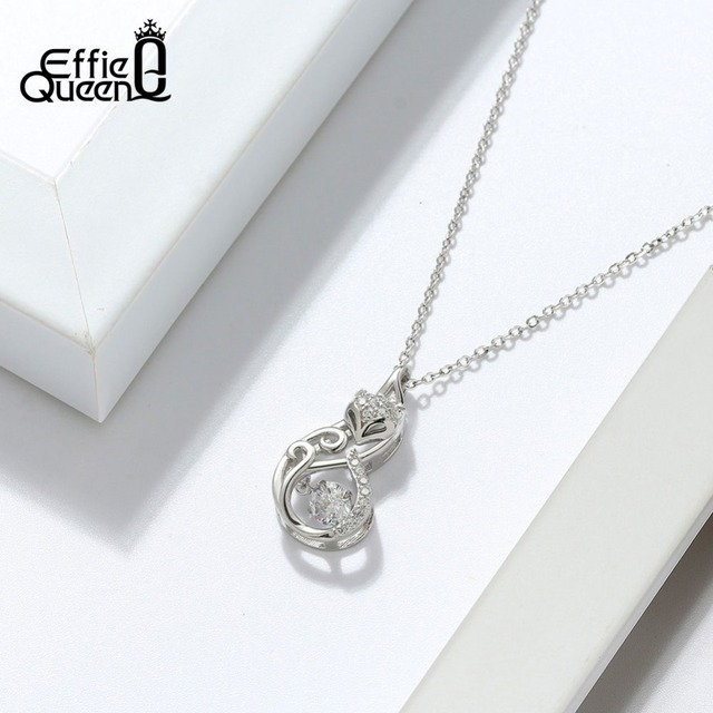 Effie Queen Crystal Women S925 Sterling Silver Necklaces Cute Fox Pendant Necklace for Women Lady Girl Jewelry Best Gift BN53 2