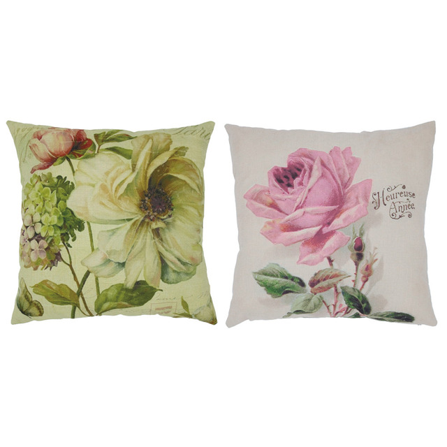 Linen Pillow Case Vintage Butterfly Rose Flower Home Decorative Leaning Cushion Pillow Cover No Core Pillowcases 45cm * 45 cm