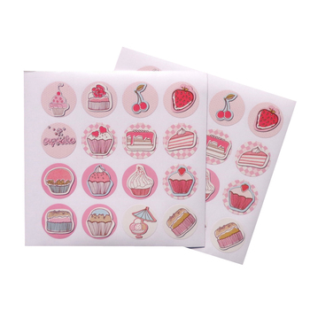 160pcs/lot lovely sweet cake pattern round paper adhesive seal sticker gifts sealing sticky DIY decorative label handmade sweet bird cage pattern removeable waterproof decorative wall sticker