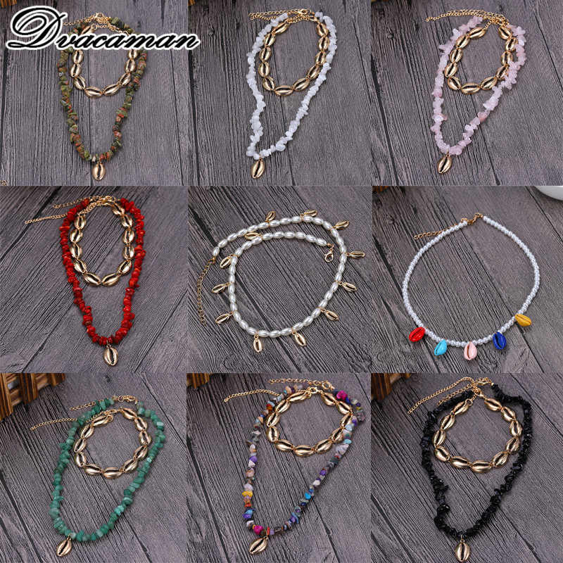 Dvacaman 2019 Fashion Bohemian Nature Stone Pendant Jewelry Beads Link Chain Sea Shell Choker Sexy Simple Necklace for Women
