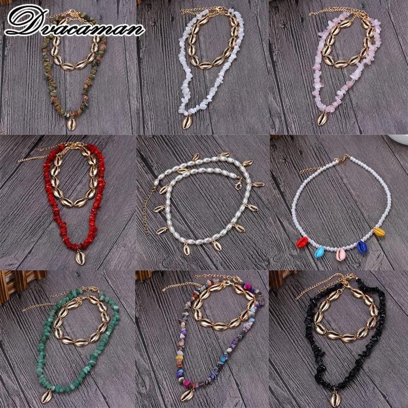 Dvacaman 2019 Fashion Bohemian Nature Stone Pendant Jewelry Beads Link Chain Sea Shell Choker Sexy Simple Necklace for Women chain