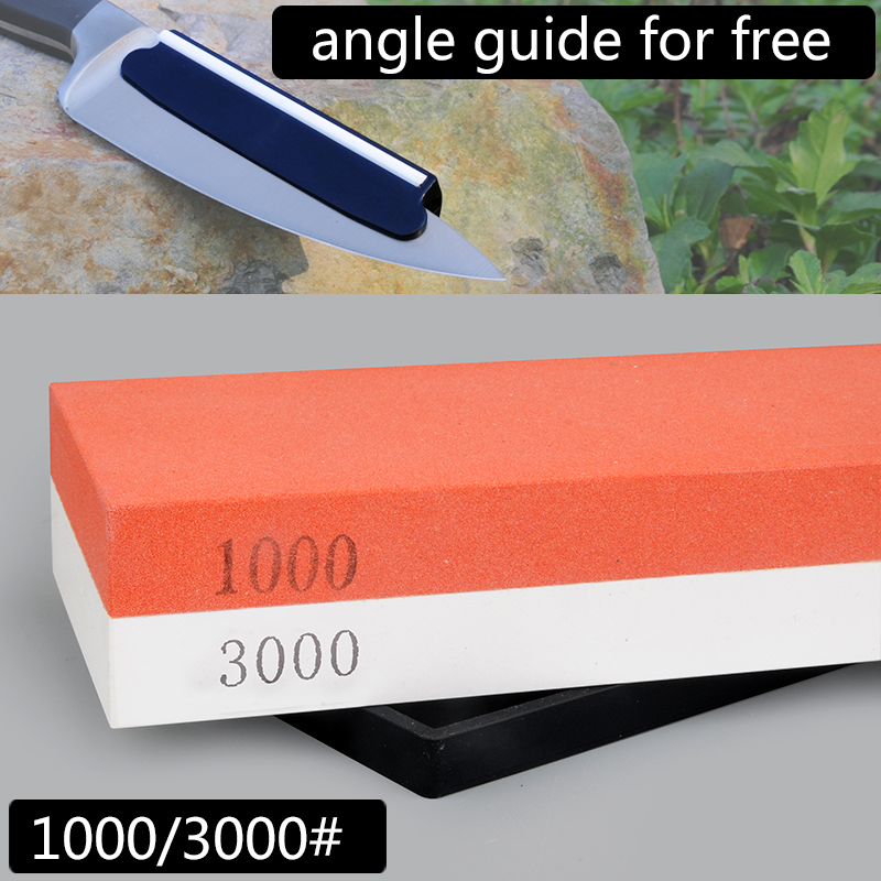 1000/3000# sharpening stone whetstone professional knife sharpener with angle guide double honing blade sharpening knife stone