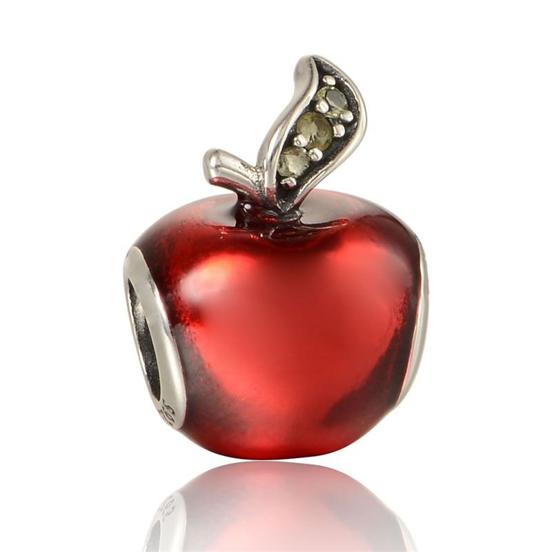 Fits Charms European Silver Bracelet 925 Silver Charm Cinderella Red Enamel Apple European DIY Jewelry Women Free Shipping