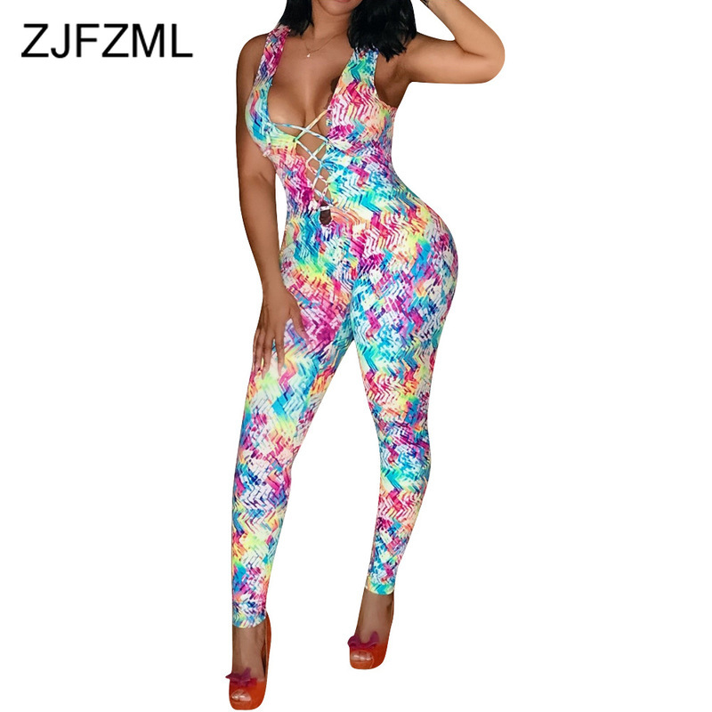 Colorful Print Sexy Bodycon Romper Women Front Lace Up Hollow Sleeveless Skinny   Jumpsuit   Summer Backless Club Party Long Catsuit