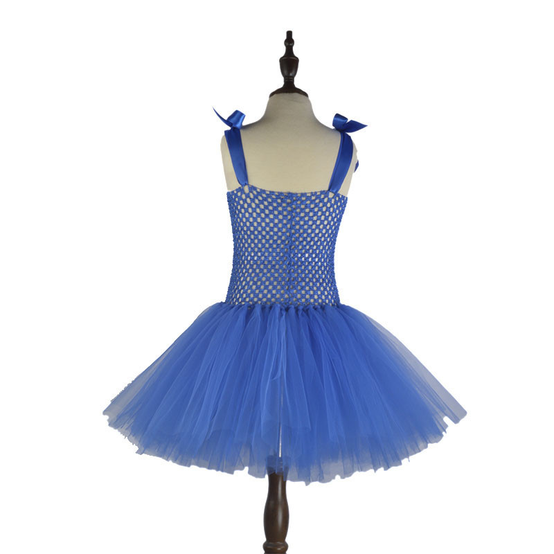 Handmade Cartoon Tutu Dress for Girls Birthday Party Halloween Costume Red Blue with White Toddler Kids Dresses Summer
