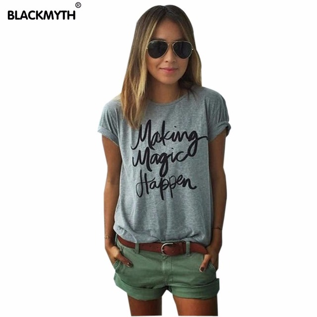 Летний стиль мода делает волшебство случиться письмо женщины футболка хлопковые топы с круглым вырезом футболка S черный, белый цвет