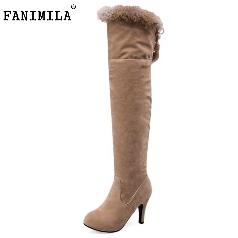 Woman High Heel Over Knee High Boots Woman Fashion Round Toe High Heels Shoes Brand Suede Leather Botas Woman Size 34-43 2016 autumn winter hot selling royal blue suede over the knee high heel boots round toe thick heels high boots for woman