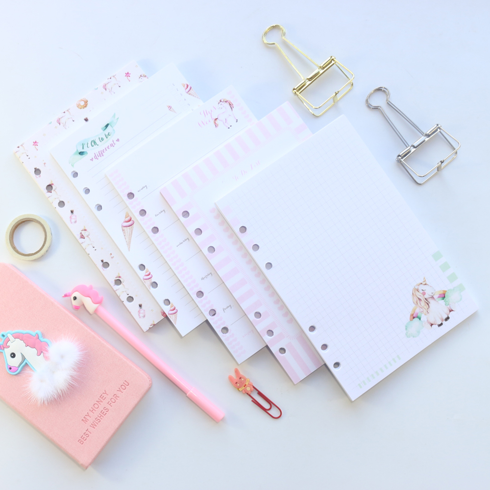 Domikee cute refillable 6 holes student inner paper core for binder notebook sta