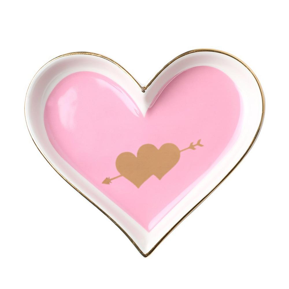 Креативный в форме сердца керамический поднос для обеденной тарелки подарок на День святого Валентина для сладкой посуды Ювелирная тарелка десертные ресторанные Держатели - Цвет: pink double heart