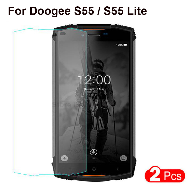2PCS Tempered Glass For Doogee S55 Screen Protector 9H Explosion-proof Protective Glass Cover Film For Doogee S55 Lite 5.5 Inch