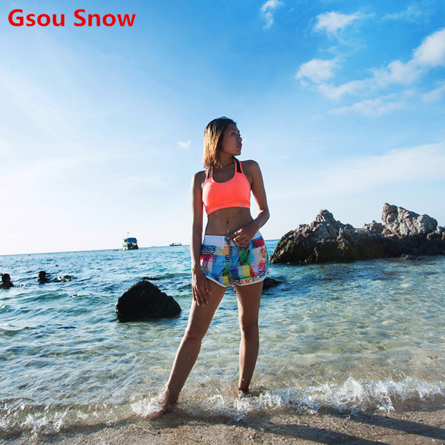 041676b0c5 Gsou Snow Brand Women's Board Shorts Swimming Trunks Beach Shorts Quick Dry  Boardshorts Surf Bottom Surfer Rash Guard