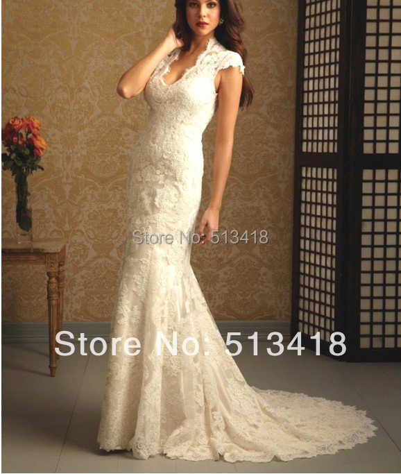 Classic Ivory Wedding Dresses: Hot Sale! Sexy New Custom Classic Vintage Lace Cap Sleeve