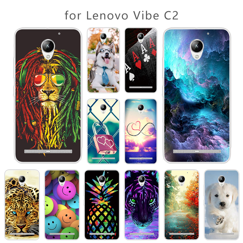 TPU Case Coque for Lenovo Vibe C2 K10A40 Skuli Back Cover Clear Soft Silicone Fundas 5.0 inch for Lenovo C2 Power Case Coque