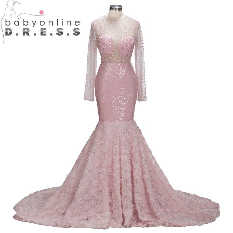 Babyonlinedress Sexy Open Back Long Sleeve Mermaid Prom Dresses  Luxury Beaded Sequin Flower Party Dresses vestido de festa