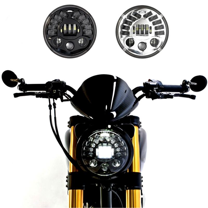 1 Set 8790 7Inch Round Led Headlight for Harley Motorcycle with amber Left turn signal and right signal and parking light smart