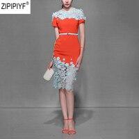 2018 Summer Designer Dress Women High Quality O Neck Short Sleeve Brief Lace Pacthwork High Waist Knee Length Sheath Dress C576