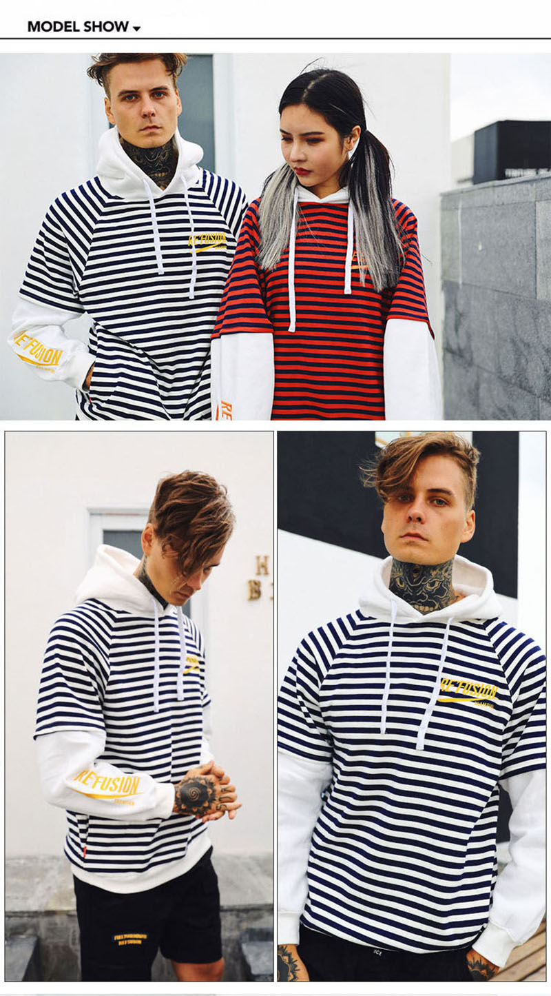 Aolamegs Male Sweatshirt Striped Hooded Sweatshirts O-Neck Pullover Loose Streetwear High Street Hip hop Fashion Winter Couple (13)