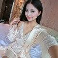 Ml XL женщины кружева пижамы установить ремень платье пижамы халаты twinset ночное черный розовый красный полный рукав атласный шелк пижамы 6203