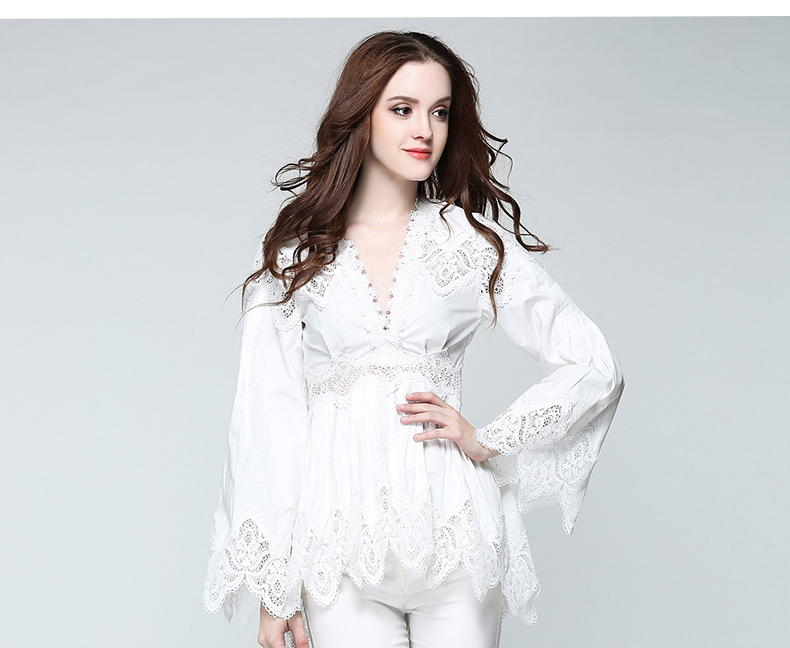 Ol Bordado Sexy Tops Mujer Mujeres Blanco Estilo Out Hollow Europeo negro Lace Deep V Blusa Cuello 2017 Ropa Lt354 aCx5qTgn5w