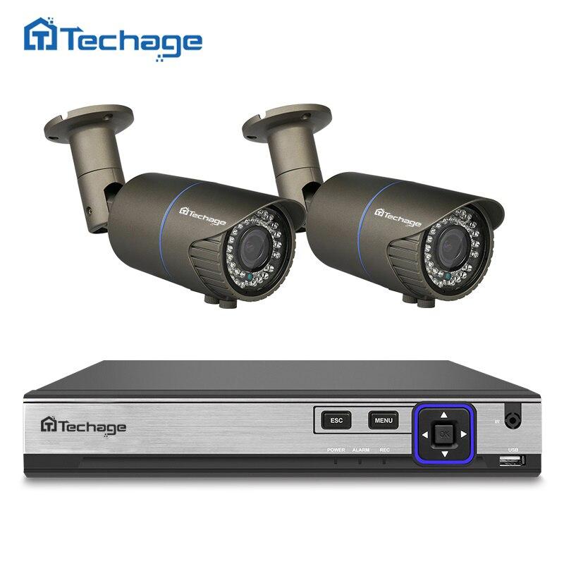 Techage H.265 4CH Poe NVR kit 4MP CCTV sistema 2 unids 2.8mm-12mm varifocal lente zoom PoE cámara IP al aire libre impermeable kit de seguridad
