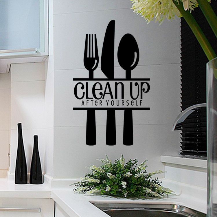 Exceptionnel Aliexpress.com : Buy Clean Up Kitchen And Cozinha Decoration Vinyl Wall  Sticker Creative Tableware Poster Interior Home Decoration Accessories Art  From ...