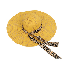 2bb31a3a62ad7 2017 NEW Yellow Summer Exquisite Leopard Ribbon Bowknot Decorated Openwork  Sun Hat For Women(China
