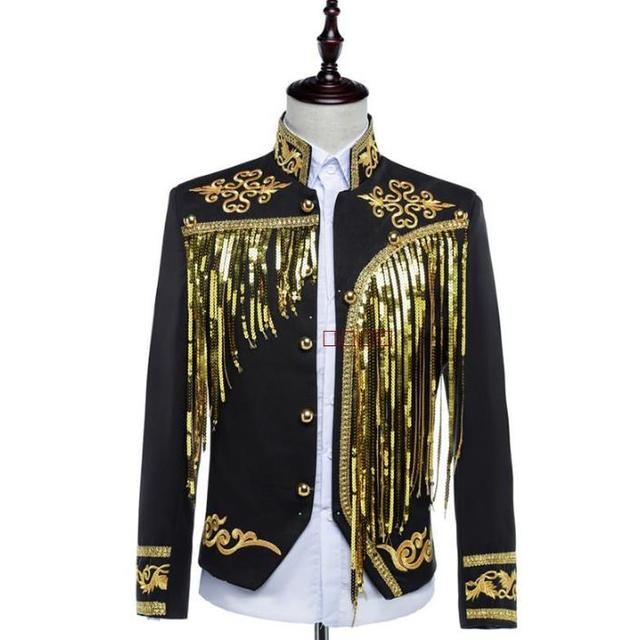 Stage sequins blazer men formal dress latest coat pant designs suit men costume homme punk tassel suits for men's terno slim fit