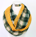 Plaid and Polka Dots Scarf Yellow Green Cream Regular Plaid Scarf Year-Round Scarf, Soft and Lightweight