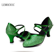 LEMOCHIC rhinestone rumba latin samba tango cha-cha ballroom salsa girl women pointe dance shoes 2017 best seller hot sale