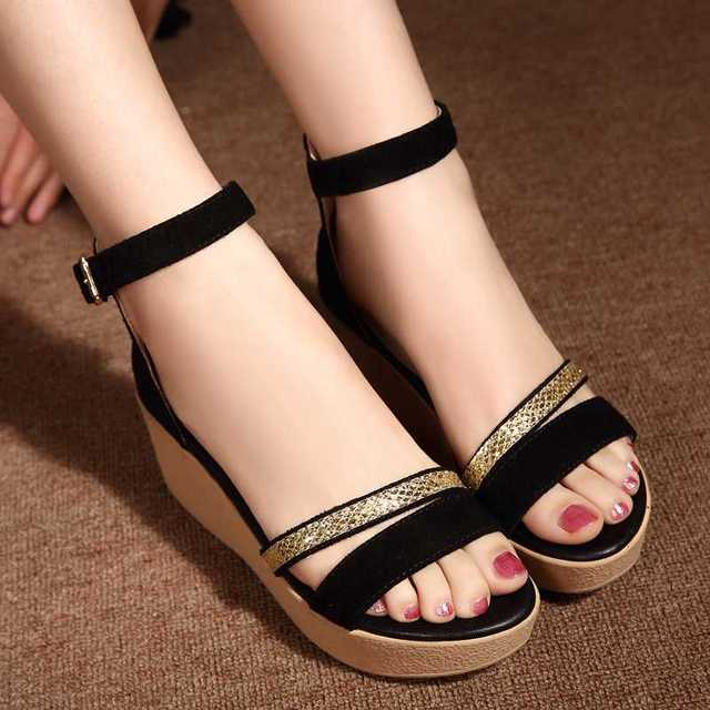 YALNN Hot Fashion New Black Women Wedge Sandals