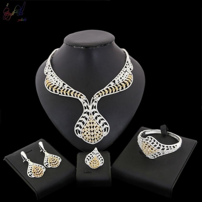 YULAILI Zircon Stone White CZ Alloy Jewelry Sets for Women Party Earrings/Pendant/Necklace/Rings/Bracelet все цены