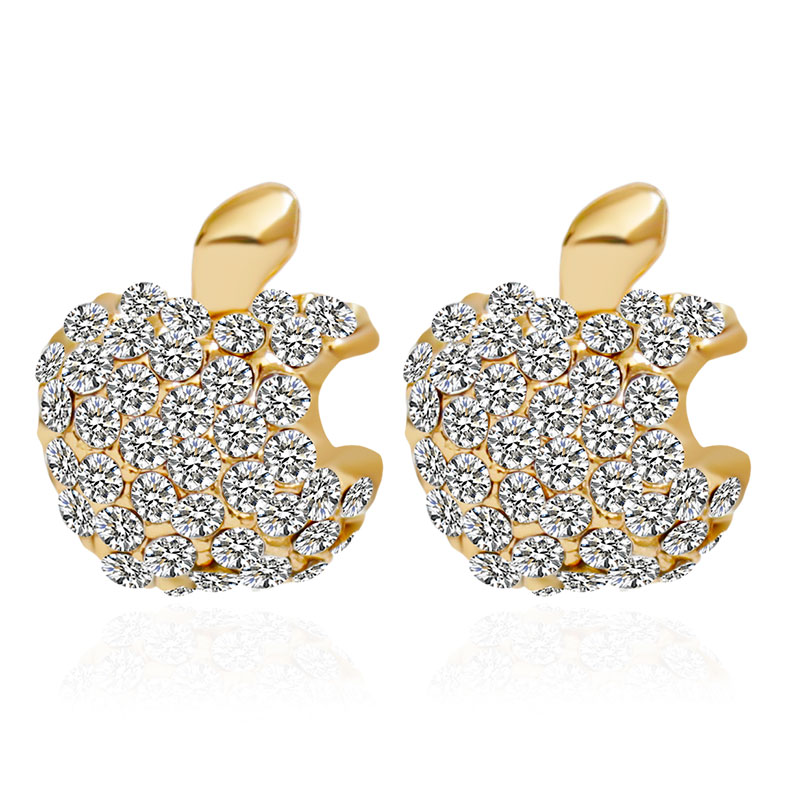 F & U Zinklegierung New Exquisite Apple Logo Strass Metall Gold Farbe Ohrringe Stud # 200