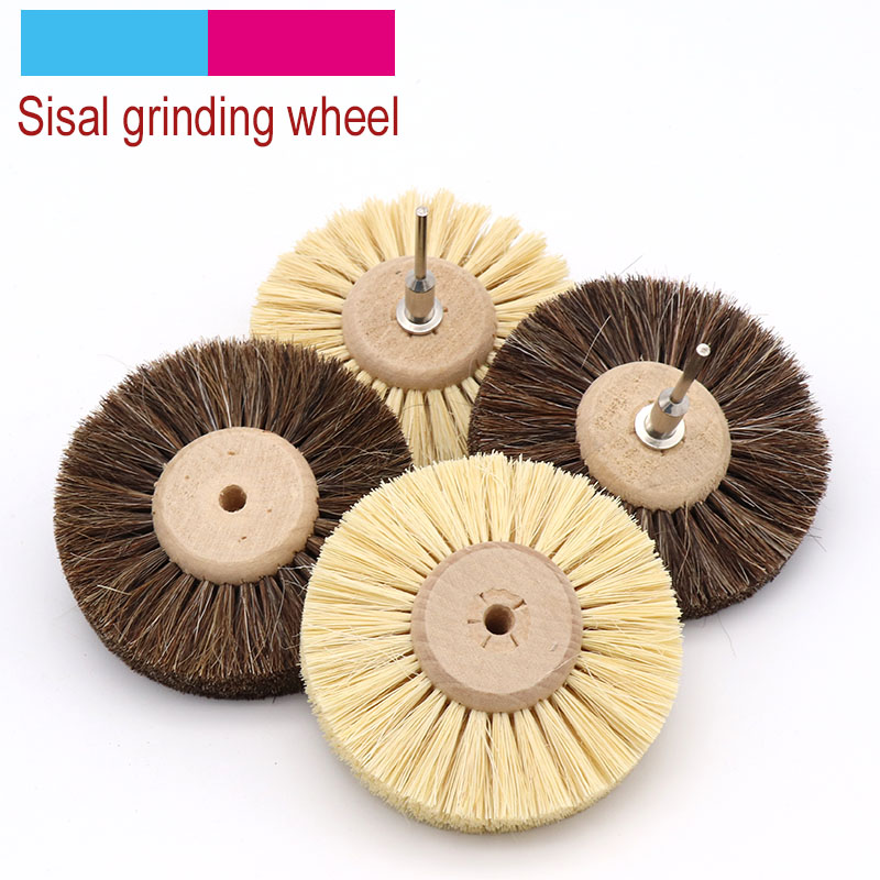 1pcs Abrasive Sisal Filament Or Horse Hair Brush Polishing Grinding Buffing Wheel Woodworking For Furniture Rotary Drill Tools