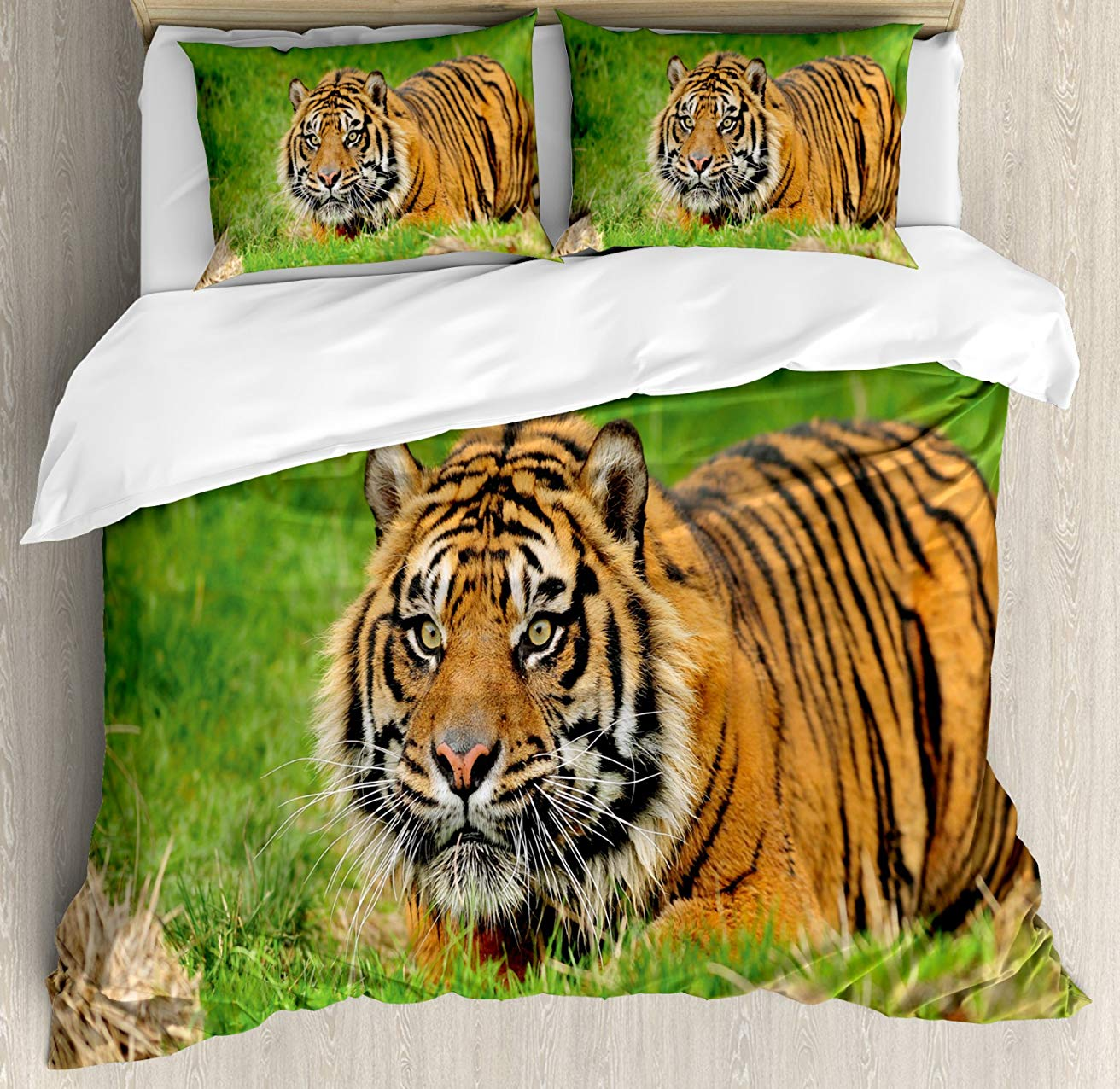 Tiger Duvet Cover Set  Sumatran Feline Hiding in Ambush while Stalking Its Prey Moments Before Attack 3 Piece Bedding SetTiger Duvet Cover Set  Sumatran Feline Hiding in Ambush while Stalking Its Prey Moments Before Attack 3 Piece Bedding Set
