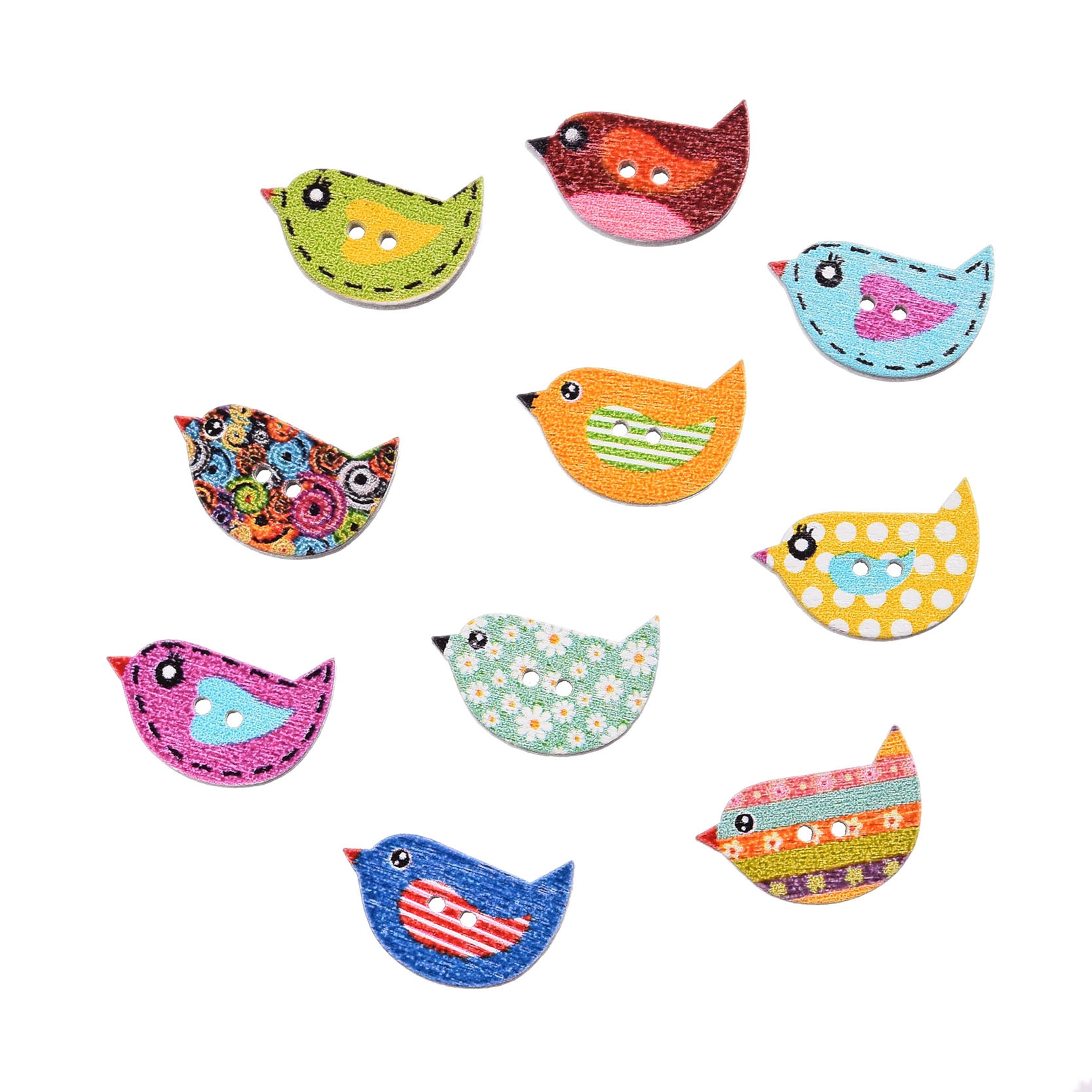 50Pcs Mixed Color Multicolor Cute Birds Botones 2 Holes Printing Wooden Buttons Scrapbooking Sewing Accessories Knopf 22*16mm(China (Mainland))