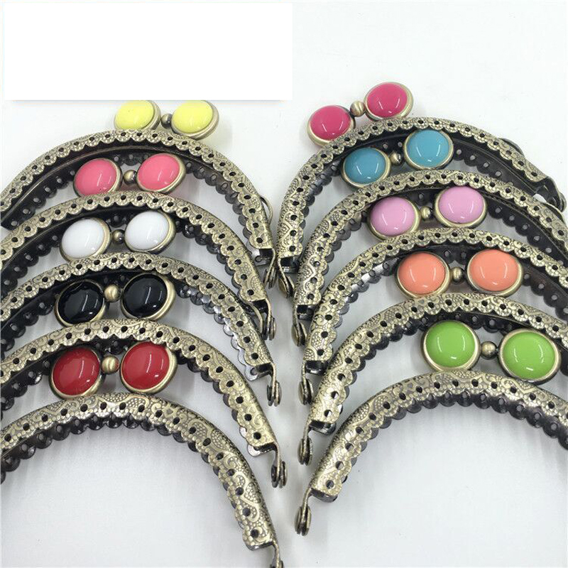 8.5cm Vintage Bronze Color Colorful Eye Buckle Women Coin Bag Mini Size Metal Clasp Purse Frame Wholewale 10pcs/lot