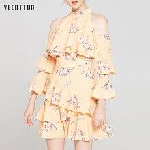 Summer Chiffon Sexy Off Shoulder Mini Dress Women Floral Print Ruffles Halter A-Line Elegant Party Ladies Dresses Vestidos Mujer цена 2017