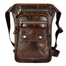 Original Leather Multifunction Men Fashion Casual Cross-body Shoulder Bag Design Belt Waist Pack Drop Leg Bag Pad Pouch 838c(China)