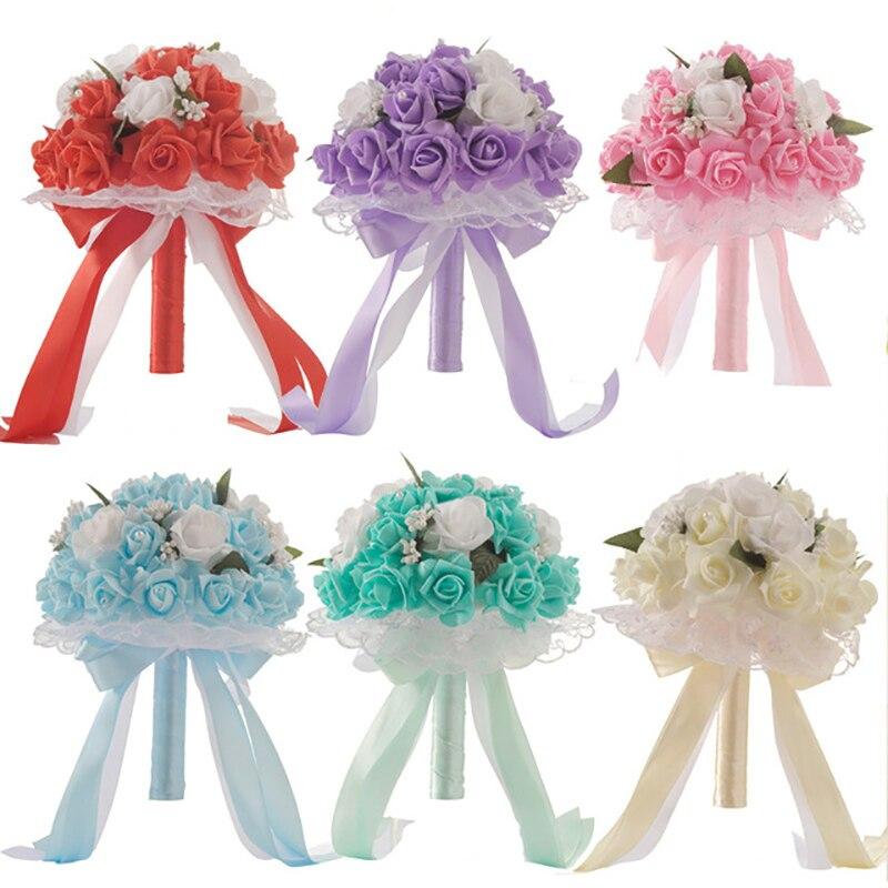 6 Colors Bouquet Hotsale Artificial Foam Flowers Foam Roses For Women Wedding Arrangement Bridal Bouquet Wedding Bouquets
