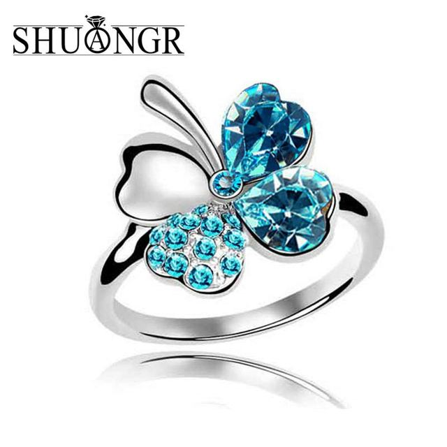SHUANGR Silver Crystal Flower Clover Wedding Rings For Women Jewelry