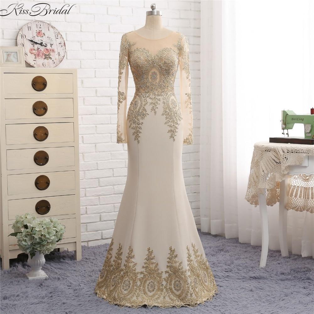 Vestido De Festa Лонго красивых Дизайн Золотые Аппликации вечерние платья для Для женщин с длинным рукавом Русалка Вечерние платья