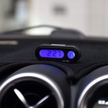 Car Digital Clock Auto Thermometer Decoration Mini Electronic Clock Car Ornament
