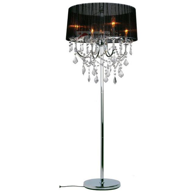 modern crystal living room floor lamp european fabric lampshade crystal hanging bedroom bedsides crystal floor lighting