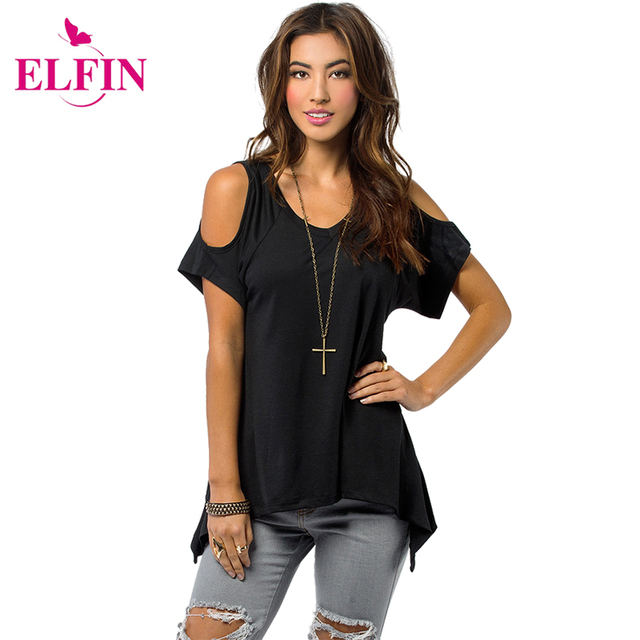 572aa311ff27e Shoulder Top Women Open Cold-Shoulder V-Neck Short Sleeve Irregular Hem Cut  Out Tunic Top Off Shoulder T-shirt Top Tees LJ1270R